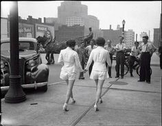 In 1937 two women caused a car accident by wearing shorts in public for the first time              In 1937 a careless driver caused an accident when he took his eyes off the road to ogle 2 women wearing shorts in public for the first time.