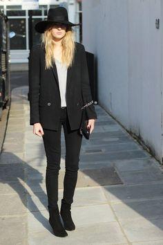 Zaraboyfriend blazer- Paigedenim jeans- James Perset-shirt- Jimmy Choosuede boots- Acnebag- HM New Icons hat andbelt- Michael Korswatch(image:camilleovertherainbow)