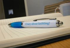 """We hope you like your """"Crazy About Knitting"""" Pens you got for Christmas from one of our customers! We're sure you love them Sew much. Promotional Pens, Ballpen, Parrot, Good Things, Things To Sell, Curvy, Sew, Knitting, Christmas"""