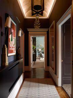 Small shelf, door capping, baseboard/architrave caps, wall/art lighting and full-wall art - Douglas Mackie Design, Belle Feb/Mar 2015