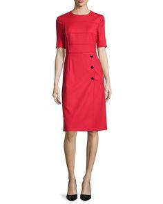 Escada Short-Sleeve Sheath Dress, Cherry