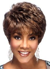 Simple Short Brown Full Lace Remy Hair Wigs for Black Women