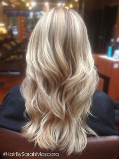 Buttery and platinum blonde highlights using a balayage technique...