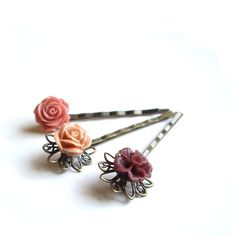 Hair pins Flower Hair pins Hairpins Set of 3 by JPwithLove on Etsy, $15.00