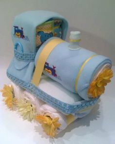 Diaper and blanket cakes