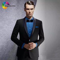 9d88f61cf9 Black Wedding Suits Groom Wear Tuxedos Slim Fit Men Suits Shawl Lapel 2  Pieces (Jacket+Pants) Prom Blazer Costume Homme Best Man