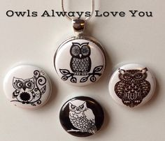 Interchangeable Magnetic Owl Necklace by BellyLaughButtons on Etsy