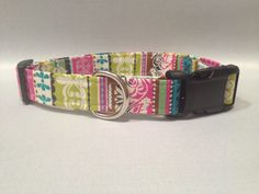 Multi Abstract Print Dog Collar by ALeashACollar on Etsy