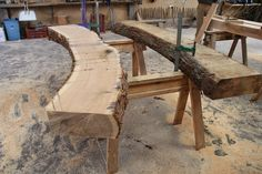 """#oak #timberframe Before we can start the timber framing per se, we spend a day or 2 sorting out the curves. As you can see they arrive """"slabbed"""" through, complete with bark and sap wood…."""