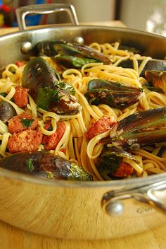 Pasta with Mussels and Chorizo by 80 Breakfasts, via Flickr