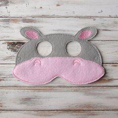 Máscara animal de la selva - Hippo - Niños, fieltro Máscara - Traje de Vestir, Juegos de imaginación - Halloween