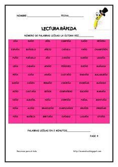 Cuaderno para mejorar la lectura. Lectura Rápida (12) Reading Activities, School Projects, Teaching Resources, Spanish, Homeschool, It Cast, Education, Montessori, Spanish Class