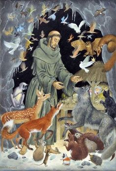 Fourteenth Sunday after Pentecost | 2014 | Catholic Mass Readings | Saint Francis of Assisi (Pauline Baynes, © Pauline Baynes) | Mt 6:26 | Look at the birds in the sky; they do not sow or reap, they gather nothing into barns, yet your heavenly Father feeds them. Are not you more important than they?
