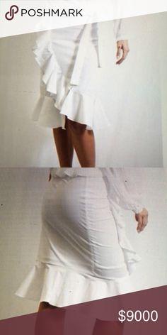 WHITE PAPERBOY RUFFLE SKIRT-COMING SOON WHITE PAPERBOY RUFFLE SKIRT-97% POLYESTER 3% SPANDEX Tea n Cup Skirts