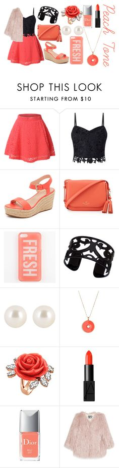 """Peach Tone"" by the-fashiondesigner ❤ liked on Polyvore featuring LE3NO, Lipsy, Kate Spade, Lisa August, Henri Bendel, Mawi, NARS Cosmetics, Christian Dior and Pam & Gela"