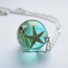 """Natural Pretty Things little baby sea str, shells & semi-precious gems with blue tint in a clear glass resin spherical pendant on 30"""" silver plated chain"""