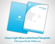 Clean Light Blue Letterhead Template - Preview