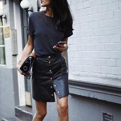 Tshirt + button-down skirt