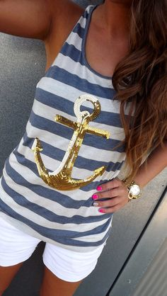 Gold Sequin Anchor Tank