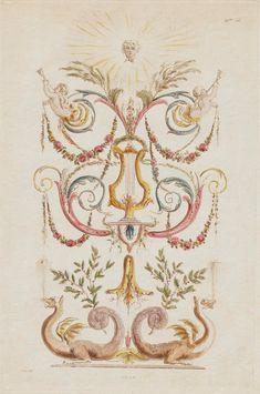 Design for Bookcase   Plate designed by Etienne de Lavallée-Poussin in Rome for a posthumous publication