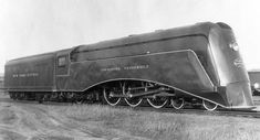 """New York Central """"Commodore Vanderbilt"""" - 1935. NYC's first steam streamliner was designed by Carl Kantola (with wind tunnel testing at Cleveland's Case Institute) and fabricated as a converted Hudson in the railroad's shops near Albany. The Commodore Vanderbilt was the second-string New York - Chicago run to the premier 20th Century Limited."""