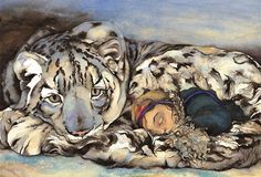 The Snow Leopard By Author / Illustrator Jackie Morris. Plus a reading of Snow Leopard children's book. Gaspingly beautiful watercolour pictures of wonder. Dad Drawing, Art Magique, Animal Spirit Guides, Art Calendar, 2016 Calendar, Art Watercolor, Morris, Children's Book Illustration, Book Illustrations