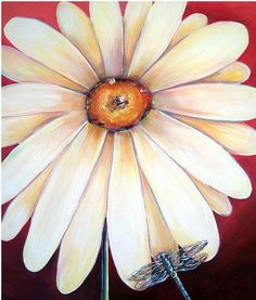 This stunning painting features a pristine white gerbera daisy with a resting blue dragonfly Dragonfly Painting, Dragonfly Art, Painting Flowers, Kids Canvas Art, Mini Paintings, Canvas Paintings, Art Lessons For Kids, Australian Artists, Paint Party