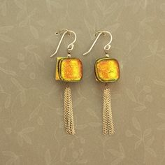 Golden Salmon Dichroic Glass and Sterling Silver Chain Tassel Earrings