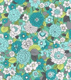 Keepsake Calico Fabric- Blossoms Teal. At Joann Fabrics. Fabric for top and backing  for a geometric quilt I am making