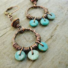 Turquoise+and+Antiqued+Copper+Wire+Wrapped+by+BearRunOriginals,+$15.00