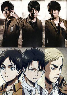 Sexy seiyuu! ♡0♡ Eren Jaeger>>Yuuki Kaji Hiroshi Kamiya>> Levi Ackerman Ono Daisuke>> Erwin Smith #seiyuu #anime #AttackOnTitans #AoT #SnK
