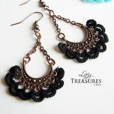 Antique Copper Chandelier Earrings Lace Boho Earrings Long