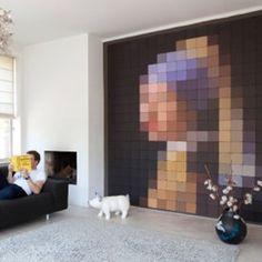 wanddecoratie muurdecoratie schilderij kunst meisje met de parel pixel johannes vermeer