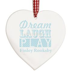 Personalised Dream Blue Wooden Heart Decoration  from Personalised Gifts Shop - ONLY £9.95
