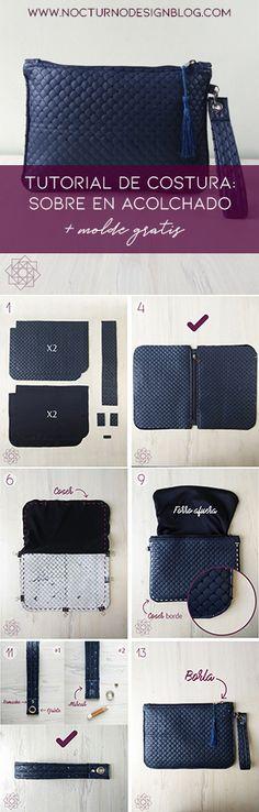 Costura fácil sobre en acolchado. Tutorial de costura. Costura fácil paso a paso. molde gratis. Patrón gratis de costura. Free sewing pattern.