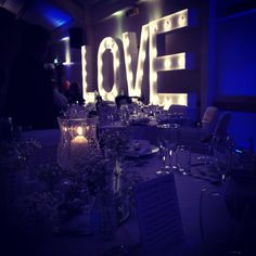 Winter wedding vowed & Amazed! Light up large love marquee letters #DonnaMorganEngaged