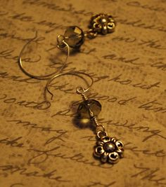 Silver Medieval Medallion and Grey Crystal Dangle Earrings