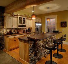 Stone and rich wood finish kitchen island!
