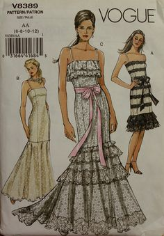"""Fishtail Gown or Dress Vogue Pattern 8389 OOP Uncut  Sizes 6-8-10-12  Bust 30 1/2 to 34"""". $24.95, via Etsy."""