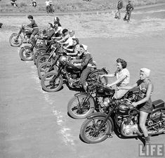 women motorcyclists from 1949, taken by Loomis Dean for Life Magazine