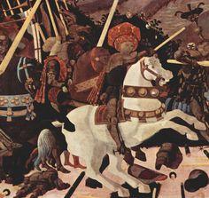 Paolo Uccello - La Bataille de San Romano, vers 1456, triptyque peint, environ 3 x2 m (détail)