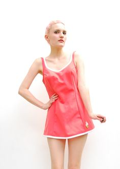 60s Coral Swimsuit Skirted Swimsuit One Piece by PomPomClothing