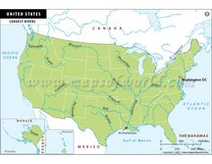 US Interstate Map Store Mapsofworld Pinterest Interstate - Map of the rivers in the us