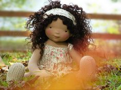 Wild Flower Doll Kit and pdf Pattern by LaliDolls on Etsy Doll Patterns, Clothing Patterns, Sewing Patterns, Felt Dolls, Baby Dolls, Sock Dolls, Cupcake Dolls, Doll Wigs, Wig Making
