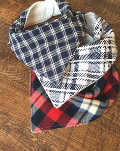 This set of High quality cotton and cotton flannel bibs are for all you plaid lovers! 100% pure natural cotton in shades of reds, creams and dark