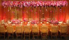 Pink & gold reception decor