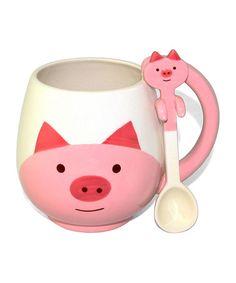 Pink & White Pig Mug & Spoon #zulily #zulilyfinds