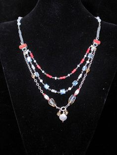 Faceted Citrine, Coral, Blue Kyanite and Sterling Silver Accents and Chain by ritterross1. Explore more products on http://ritterross1.etsy.com