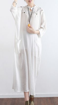 2017 new white vintage linen dresses mandarin mollar casual sundrss long sleeve maxi dress