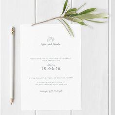 Boho Style Wedding Invite with Leaf Detail